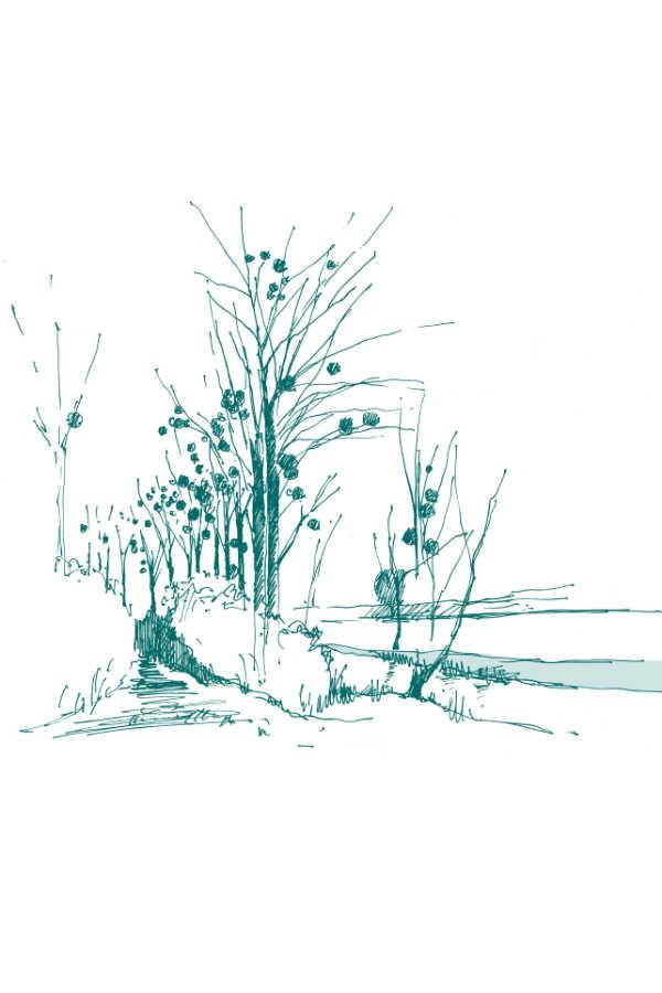 croquis paysage par Claire Denis - Paysagiste DPLG à Reims